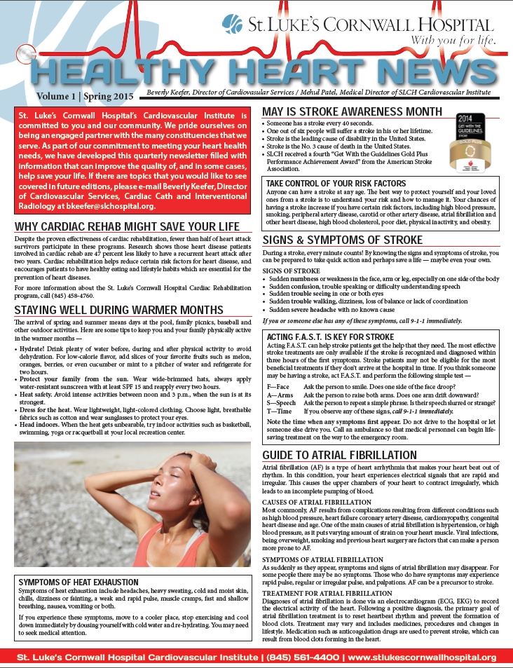 Healthy Heart Newsletter front page